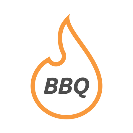 Illustration of an isolated line art flame with    the text BBQ Illustration