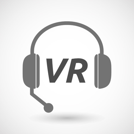 telemarketer: Illustration of an isolated  headset icon with    the virtual reality acronym VR