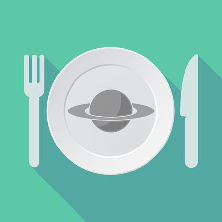 saturn rings: Illustration of a long shadow tableware vector illustration with the planet Saturn