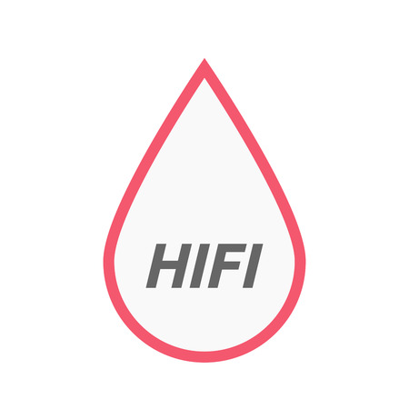 fidelity: Illustration of an isolated line art blood drop icon with    the text HIFI