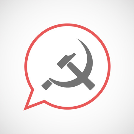 Illustration of an isolated comic balloon line art icon with  the communist symbol Illustration