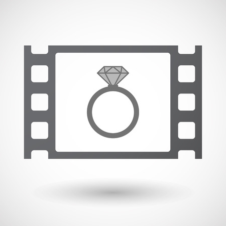 35mm: Illustration of an isolated 35mm film frame with an engagement ring