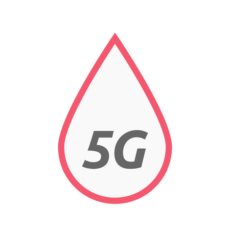 Illustration of an isolated line art blood drop icon with    the text 5G Illustration