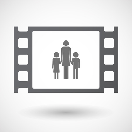 single parent: Illustration of an isolated 35mm film frame with a female single parent family pictogram