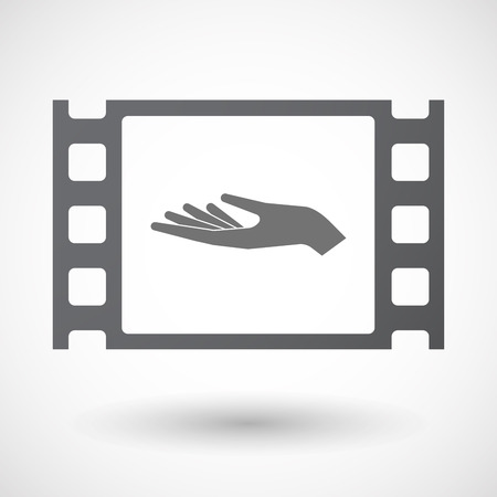 give and take: Illustration of an isolated 35mm film frame with a hand offering Illustration