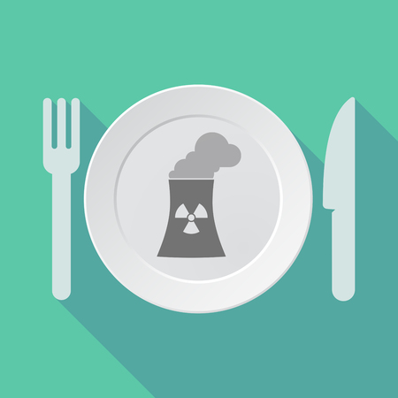 nuclear power station: Illustration of a long shadow tableware vector illustration with a nuclear power station