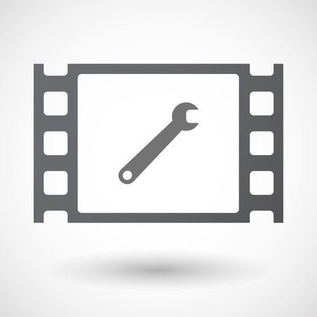 35mm: Illustration of an isolated 35mm film frame with a spanner