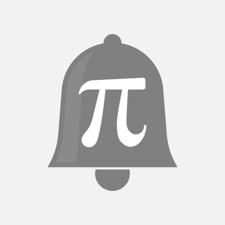 alerts: Illustration of an isolated bell icon with the number pi symbol Illustration