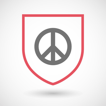 pacifist: Illustration of an isolated line art  shield icon with a peace sign Illustration