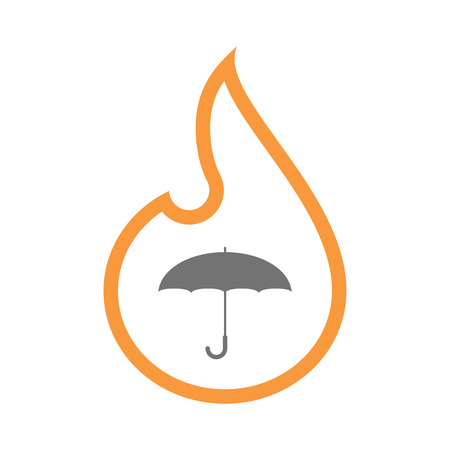 Illustration of an isolated line art flame icon with an umbrella Illustration