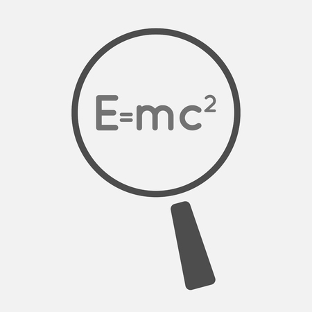 theory: Illustration of an isolated magnifier icon with the Theory of Relativity formula Illustration