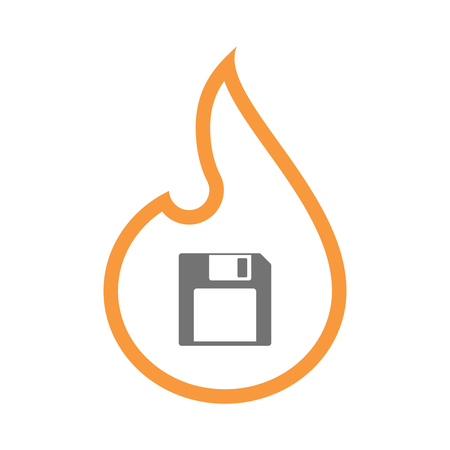 Illustration of an isolated line art flame icon with a floppy disk