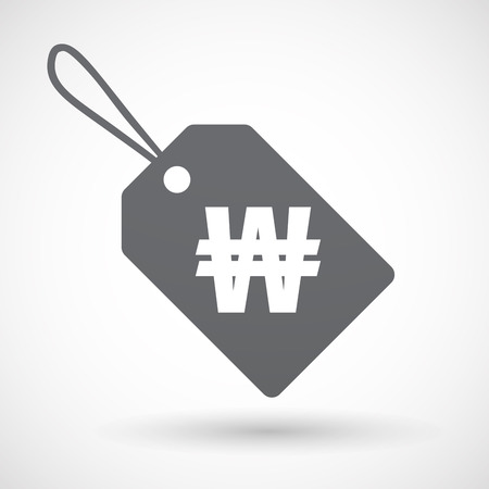 won: Illustration of an isolated label with a won currency sign Illustration