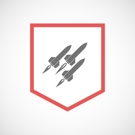 ballistic: Illustration of an isolated line art ribbon icon with missiles