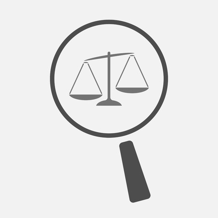 injustice: Illustration of an isolated magnifier icon with  an unbalanced weight scale Illustration