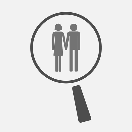 heterosexual: Illustration of an isolated magnifier icon with a heterosexual couple pictogram