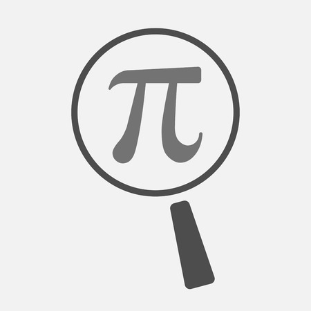 constant: Illustration of an isolated magnifier icon with the number pi symbol Illustration