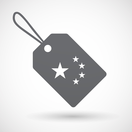 five stars: Illustration of an isolated label with  the five stars china flag symbol