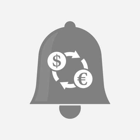 handbell: Illustration of an isolated bell icon with a dollar euro exchange sign