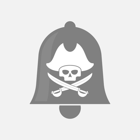skull and crossed bones: Illustration of an isolated bell icon with a pirate skull