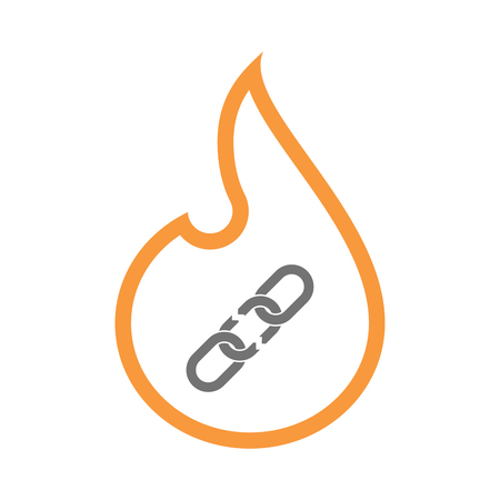 Illustration of an isolated line art flame icon with a broken chain