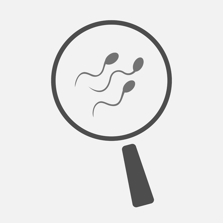 semen: Illustration of an isolated magnifier icon with sperm cells