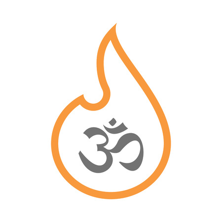 chakra energy: Illustration of an isolated line art flame icon with an om sign Illustration