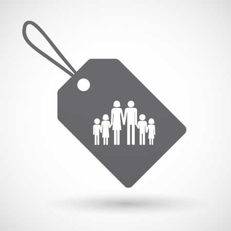 family isolated: Illustration of an isolated label with a large family  pictogram Illustration