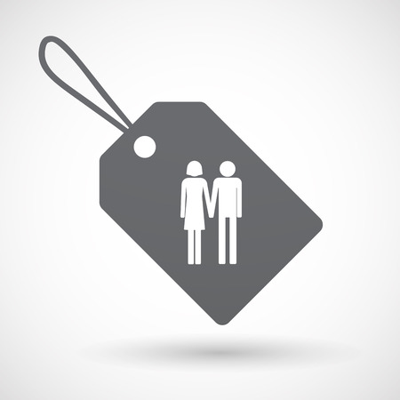Illustration of an isolated label with a heterosexual couple pictogram Illustration