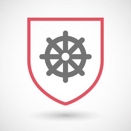 wheel guard: Illustration of an isolated line art  shield icon with a dharma chakra sign
