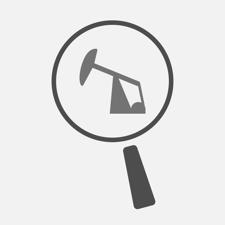 horsehead pump: Illustration of an isolated magnifier icon with a horsehead pump