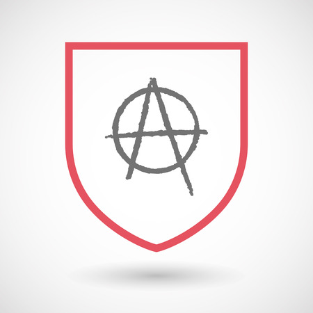 anarchist: Illustration of an isolated line art  shield icon with an anarchy sign