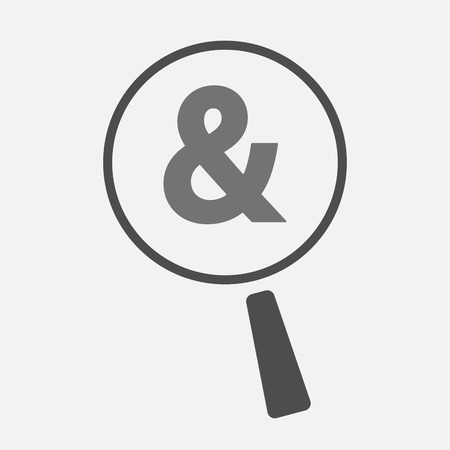 ampersand: Illustration of an isolated magnifier icon with an ampersand Illustration