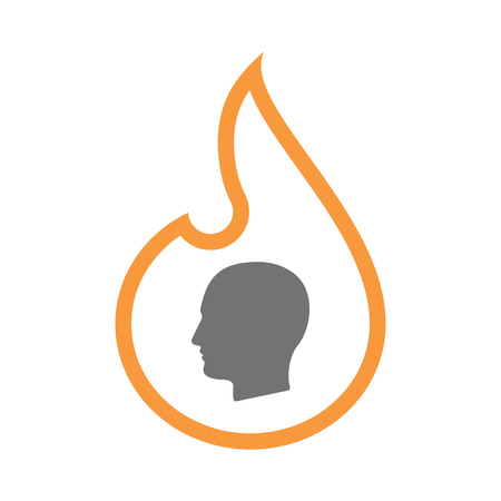 inferno: Illustration of an isolated line art flame icon with a male head Illustration