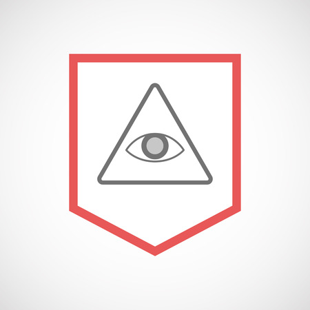 seeing: Illustration of an isolated line art ribbon icon with an all seeing eye