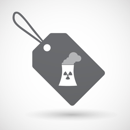 nuclear power station: Illustration of an isolated label with a nuclear power station