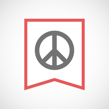 pacifist: Illustration of an isolated line art ribbon icon with a peace sign