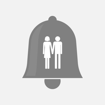 heterosexual couple: Illustration of an isolated bell icon with a heterosexual couple pictogram Illustration