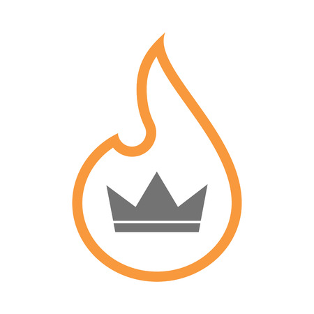 inferno: Illustration of an isolated line art flame icon with a crown Illustration