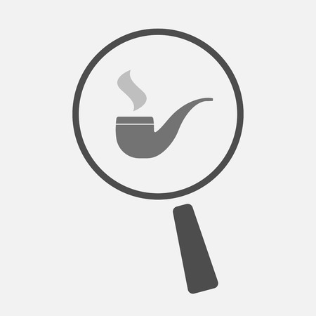 smoking pipe: Illustration of an isolated magnifier icon with a smoking pipe