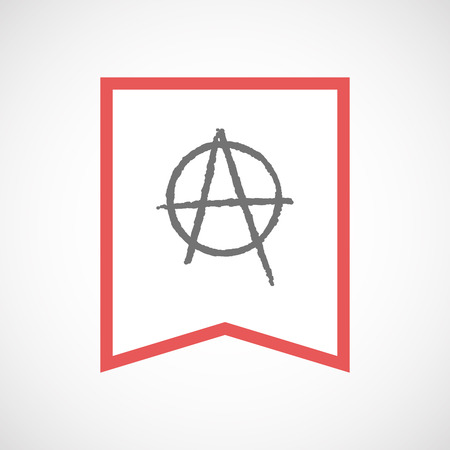 anarchist: Illustration of an isolated line art ribbon icon with an anarchy sign