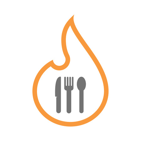 inferno: Illustration of an isolated line art flame icon with cutlery