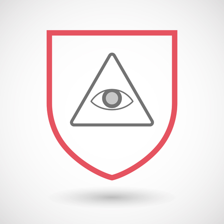 seeing: Illustration of an isolated line art  shield icon with an all seeing eye