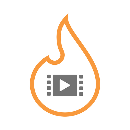 Illustration of an isolated line art flame icon with a multimedia sign