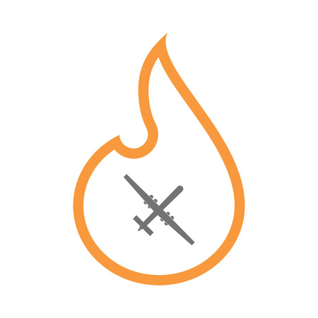 Illustration of an isolated line art flame icon with a war drone