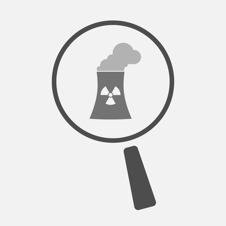 power station: Illustration of an isolated magnifier icon with a nuclear power station