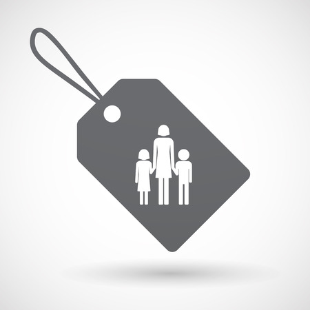 single family: Illustration of an isolated label with a female single parent family pictogram Illustration