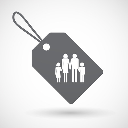 family isolated: Illustration of an isolated label with a conventional family pictogram