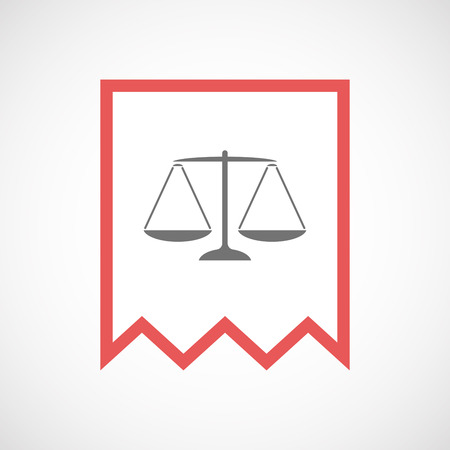 tribunal: Illustration of an isolated line art ribbon icon with a justice weight scale sign
