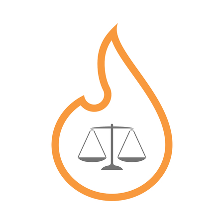 Illustration of an isolated line art flame icon with a justice weight scale sign